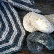 Shetland Sport Polkagris Kerchief Yarn Set - Ocean naturally dyed with saxon indigo