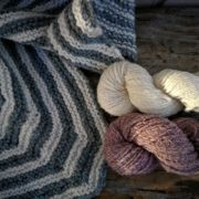 Shetland Sport Polkagris Kerchief Yarn Set - Plum naturally dyed with cochineal