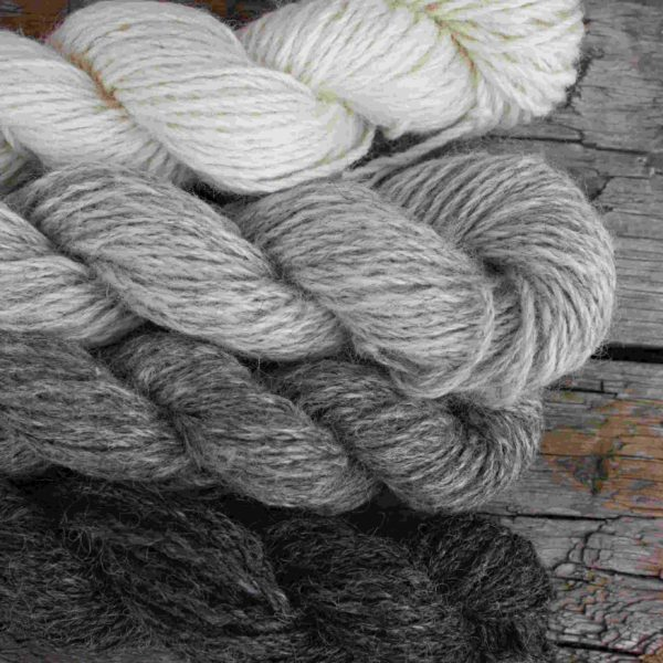 Undyed Gotland Cream, Silver, Grey and Charcoal