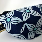 Blue geometric floral notions pouch