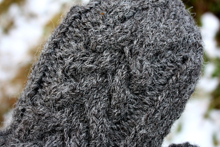 cable mittens in zwartbles cheviot blend