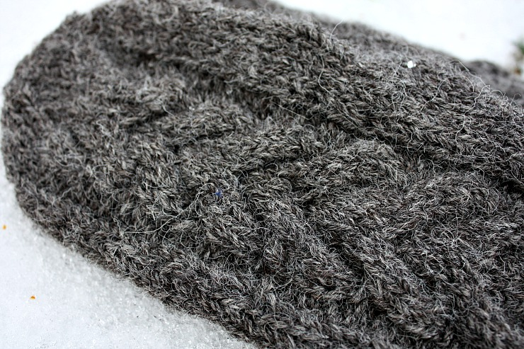 marled grey british local wool mittens