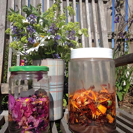 Solar dyeing with garden flowers