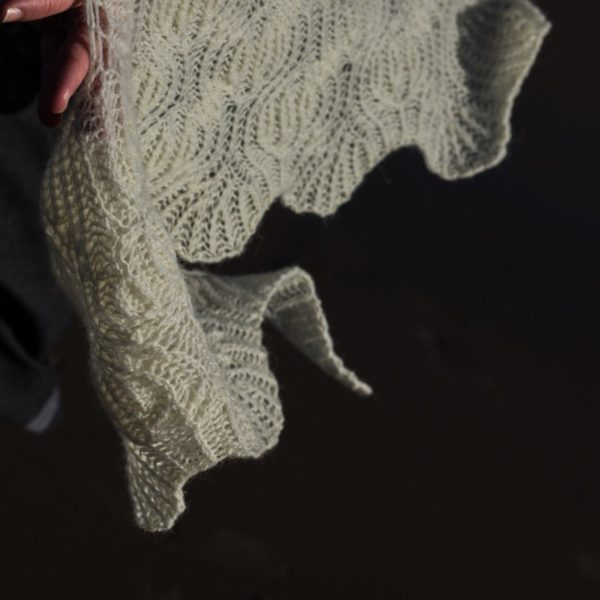 Erradale shawl by Emily Williams in undyed coulmore black isle yarns